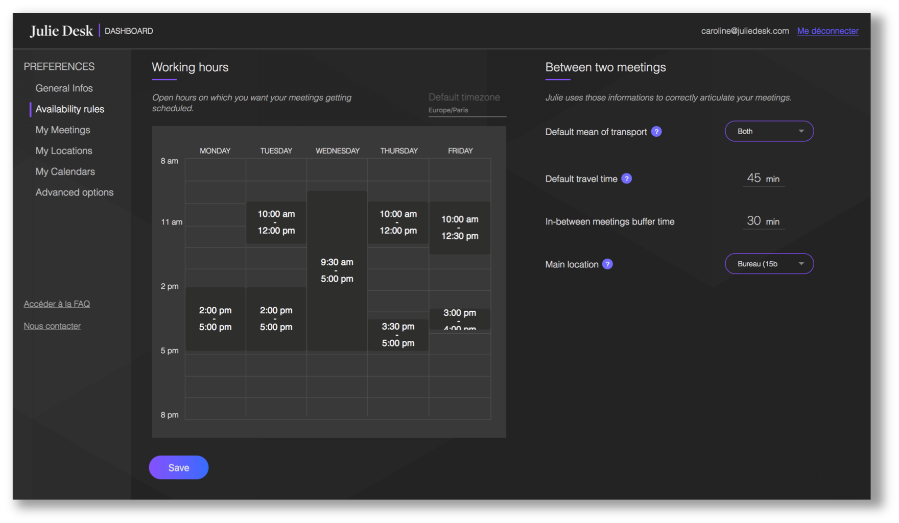 dashboard - calendar and time management