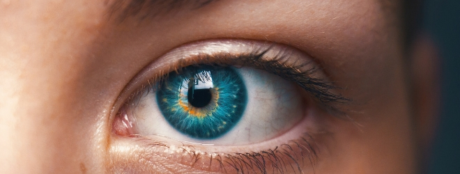 Close up picture of a blue eye